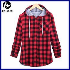 HZIJUE Fashion Women Hoodies Cotton Autumn Winter Coat Long Sleeve Plaid cotton Hoodies Casual button hooded Sweatshirt Oversize