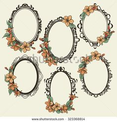 Find oval frame floral stock images in HD and millions of other royalty-free stock photos, illustrations and vectors in the Shutterstock collection. Floral Thigh Tattoos, Leg Tattoos, Body Art Tattoos, Victorian Frame Tattoos, Vintage Mirror Tattoo, Mirror Tattoos, Molduras Vintage, Framed Tattoo, Tattoo Bein