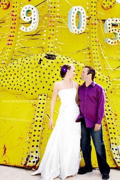 When marrying in Vegas, a groom can indeed wear purple and get away with it...