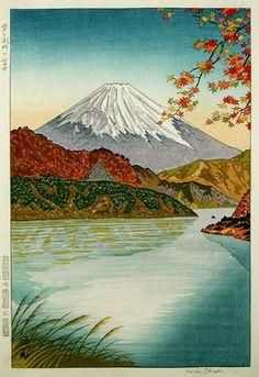 hanga gallery . . . torii gallery: Fuji from Ashinoko by Koichi Okada