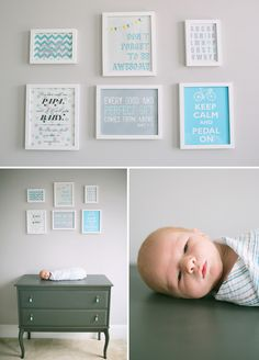 Townsend and His Gray & Turquoise / Aqua Nursery, cute wall art, via ontobaby.com