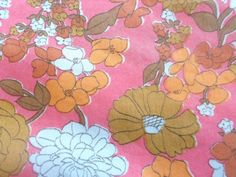 Vintage Floral Fabric One Yard 36 by 45 inches by SerendipityinMay Vintage Floral Fabric, Vintage Fabrics, Retro Print, Bright Pink, White Flowers, Print Patterns, Yard, Kids Rugs, Awesome