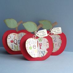 Thank You Teacher 3D Shaped Apple Cards   can by pollypurplehorse, £2.75