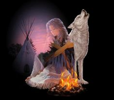 Browse Native American pictures, photos, images, GIFs, and videos on Photobucket Native American Wolf, Native American Print, Native American Pictures, American Indian Art, Gif Animé, Animated Gif, Wicca, Husky, Mystery