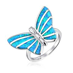 Bling Jewelry Sterling Silver Synthetic Blue Opal Inlay Butterfly Animal Ring * More info could be found at the image url. (This is an affiliate link and I receive a commission for the sales)