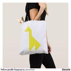 Yellow giraffe Tangram Tote Bag