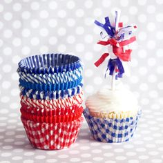 Красный Белый и синий Cupcake Liner MegaMix