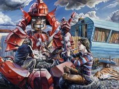 Red Samurai Picture  (2d, sci-fi, robot, painting, junkyard, dog, samurai, clouds, music, caravan)