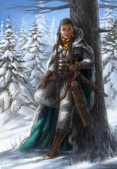 f Ranger Scale Armor Sword Bow forest hills snow midlvl RPG Female Character Portraits