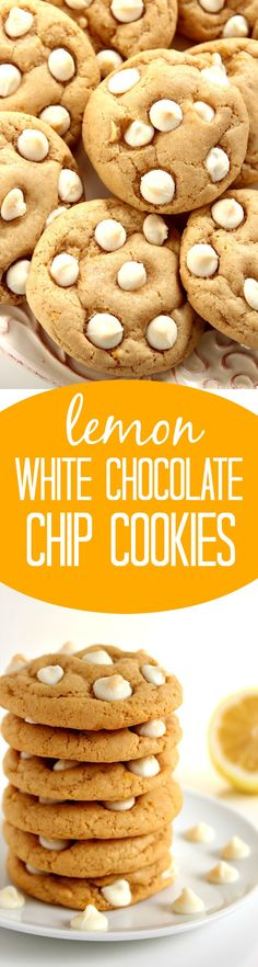 Lemon White Chocolate Chip Cookies Recipe - soft and chewy cookies with lemon zest and white chocolate. Sweet and tangy and so easy to make!
