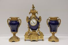 Lot 066 S93 - 3 Pieces of French Cobalt Porcelain Bronze Clock - Est. $3000-4000 - Antique Reader