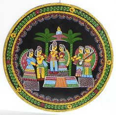 Indian Wedding - Wall Hanging (Madhubani Folk Art on Hardboard)