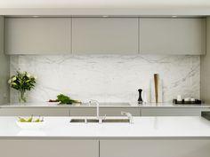 Wandsworth kitchen - cabinets, calacatta marble splashback and island