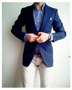 Blue stripes and blazer