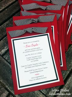 Playing with Paper: CTMH Scrapbooks, Cards & DIY: Bridal Shower Invitations - Red, Black & White with Chevron Ribbon