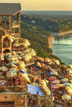 Drinks at Sunset - Lake Travis - Austin, Texas. The Oasis