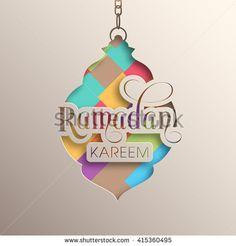 Illustration of Ramadan Kareem with intricate Arabic lamp for the celebration of Muslim community festival.