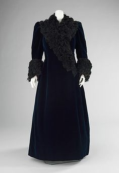 Evening coat, Worth, ca. 1890. Silk and feathers. This represents what the House of Worth was originally known for, elegant simplicity. The most interesting feature of this coat is the way the feathers have been carefully applied to mimic Persian lamb.