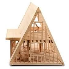 Hasil gambar untuk a frame model house Cottage Style House Plans, Small House Plans, Cabin Design, House Design, A Frame Cabin Plans, Triangle House, Pallet House, Cabin Kits, Cabin Homes
