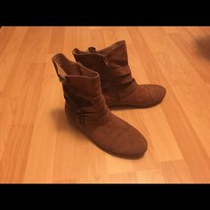 Charlotte Russe Cognac Booties Charlotte Russe cognac-colored, faux suede booties with gold buckles on the side. Only worn a few times. Good condition. Charlotte Russe Shoes Ankle Boots & Booties