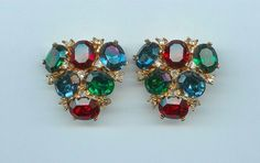 Vintage CINER Sparkling Runway HUGE Red Green Blue Crystal Rhinestone Earrings | eBay