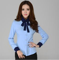 High Quality New 2014 Autumn Winter Fashion Women Shirts Long Sleeve for Work Wear Formal Office Ladies Blouses Blue