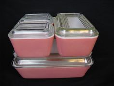 pink pyrex refrigerator dish set.