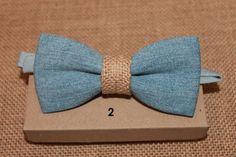 Blue Pre Tied Denim Bow Tie / Mens bow tie rustic shabby