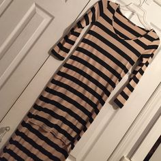 Long sleeve high low dress Stripe ( black and nude ) only worn once  Dresses High Low