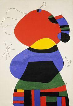 Joan Miró. Femme AVEC Trois poils Entouré par les oiseaux dans la nuit. Palma, Septembre 2, 1972