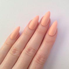 Matte Pastel Peach Stiletto nails, Nail designs, Nail art, Nails, Stiletto nails, Acrylic nails, Pointy nails, Fake nails