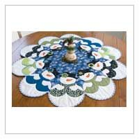 """$11.00.  LOVE   Table-topper or tree skirt-you decide.  Applique the snowmen as you machine quilt these 40""""-diameter quilts.   Pattern has Jenice Belling's fusible-applique directions ."""