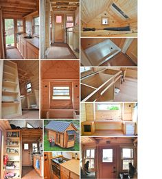 collage of tammy strobel and logan smith's tiny house http://rowdykittens.com/our-tiny-house/ built by dee williams' portland alternative dwellings http://padtinyhouses.com/allison-chris/ ... location of shower, window seat, under-cabinet drawers, and clever flip-up stove/oven are only a few of the inspiring space-savers in this build