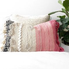 Fringe Boho Lumbar Pillow in pink Boho Throw Pillows, Lumbar Throw Pillow, Pink Pillows, Bohemian Pillows, Pink Tone, Scandinavian Design, Hand Weaving, Pillow Covers, Etsy