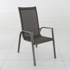 """Relaxing Aluminum Curved Arms Sling Chair in Grey Measures 23.1""""W x 28.3""""D x 41.3""""H and 250 lb. Weight Capacity. Features curved arms. Aluminum. Wipe clean. Measures 23.1""""W x 28.3""""D x 41.3""""H. 250 lb. weight capacity."""