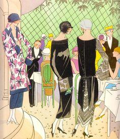 Eating Al Fresco unknown artist, designs by Paul Poiret et al. (1924)  for Art-Goût-Beauté magazine Pochoir print (unknown artist) medium : gouache (from Art Deco the Golden Age of Graphic Art & Illustration by Michael Robinson & Rosalind Ormiston 2013) please follow minkshmink on pinterest) #flapper #twenties #jazzera #artdeco #eveningdress #twentiesparty #flapperparty #party