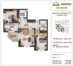 Apartamente de vanzare Mihai Bravu Residence 10 -3 camere tip A Utila, Floor Plans, Floor Plan Drawing, House Floor Plans