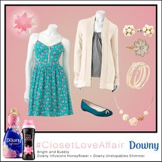 This Bright n' Bubbly look was inspired by Downy Infusions Honey Flower and Downy Unstopables Shimmer. The unexpected use of pearl accessories elevates this fun look to dashing perfection. To shop this look, visit the LC Lauren Conrad collection available only at Kohl's. To register for the #ClosetLoveAffair sweepstakes visit https://downy.promo.eprize.com/pinterest/.