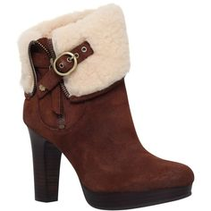 UGG Scarlett High Block Heeled Ankle Boots ($125) ❤ liked on Polyvore featuring shoes, boots, ankle booties, brown suede, flat booties, flat ankle boots, faux-suede boots, suede ankle booties and brown boots