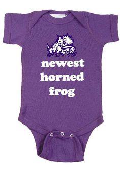 TCU Horned Frogs Baby Creeper - Purple Horned Frogs Newest Romper http://www.rallyhouse.com/shop/tcu-horned-frogs-tcu-horned-frogs-onesie-infant-purple-newest-horned-frog-onesie-10190029?utm_source=pinterest&utm_medium=social&utm_campaign=Pinterest-TCUHornedFrogs $15.95