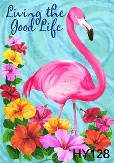 "$5.99 - Hot Pink Flamingo Double Sided Garden Flag 12X18"" Yard Banner Good Life Hy128 #ebay #Home & Garden"