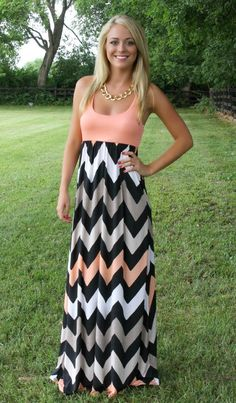 The Pink Lily Boutique - Taupe Chevron Maxi, $39.00 (http://www.thepinklilyboutique.com/taupe-chevron-maxi/)