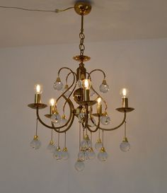 Vintage Hollywood Regency Chandelier Brass and by EbelmonteItaly