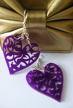 Intricate Cutout Heart Acrylic Earrings Different by anissalee on etsy May be good for Metal Clay stamp.