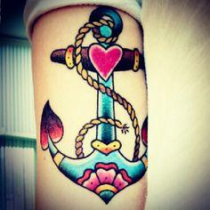 "@annajamess photo: ""old school"" #tattoo #anchor #colorful #beautiful #want #gettingit #somine #cantwait #yay #sopretty #gosh #heart"""