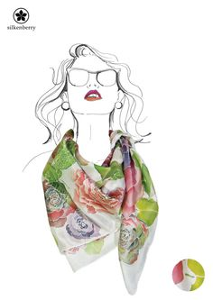 pintado a mano bufanda de seda