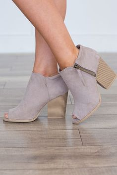 Shop our Side Zipper Peep Toe Bootie. Available in taupe and blush. Free shipping on all US orders!