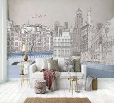 living charcoal drawing cityscape murals london