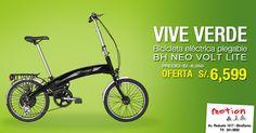 ¡Vive verde y desplázate por la ciudad cuidando el planeta! Aprovecha esta oportunidad y llévate la bicicleta eléctrica de tus sueños con el 20% de descuento. Ven a probarlas hoy y apúrate que quedan pocas. Te esperamos en la Av. Reducto 1017 – Miraflores. Para cualquier consulta, llámanos al 241-5892.