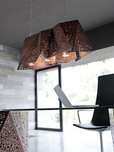 Plywood Chandelier, ceiling lamp - Design: Steven Holl, 2011 / Riddled Table, table - Design: Steven Holl, 2007